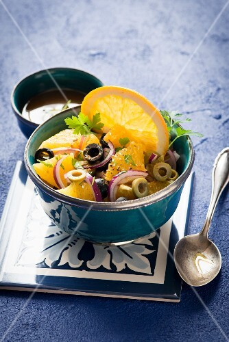 Orange salad with olives and red onions