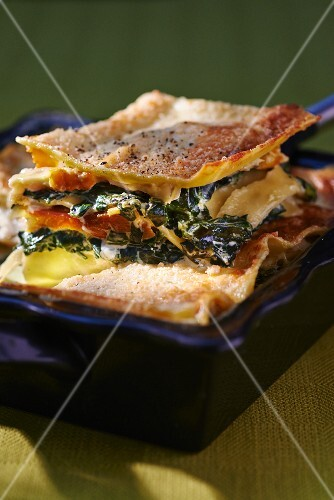 Lasagne with spinach and haddock