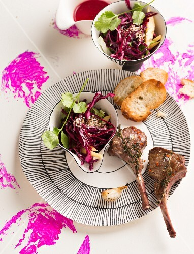Lamb chops with red cabbage salad