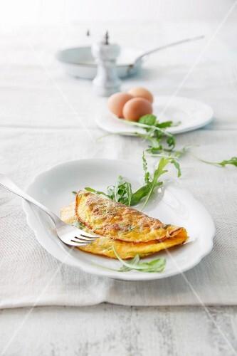 Schafskäse-Omelett mit Rucola