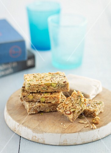 Muesli bars with sunflower seeds and pumpkin seeds