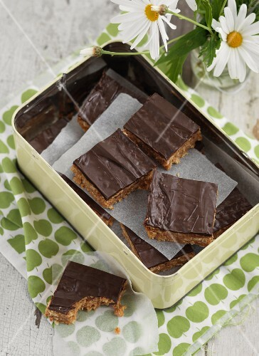Spiced nuts slices with chocolate glaze
