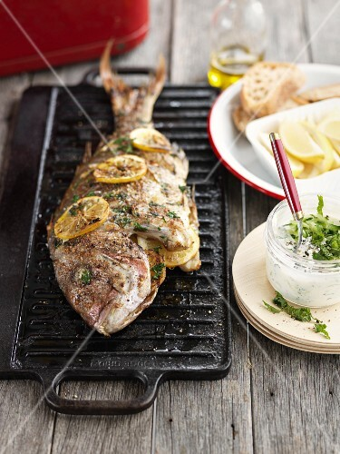 Grilled red snapper with lemon