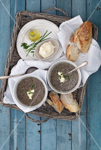 Cream of black bean soup with crème fraîche