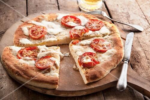A simple tomato and mozzarella pizza