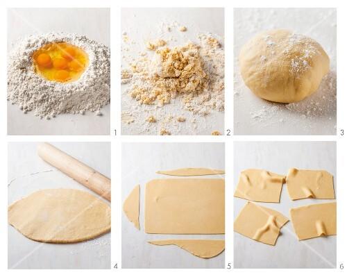 Pasta dough being made