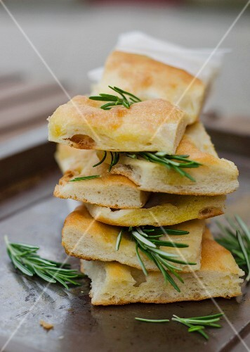 Focaccia genoese (unleavened bread with rosemary, Italy)