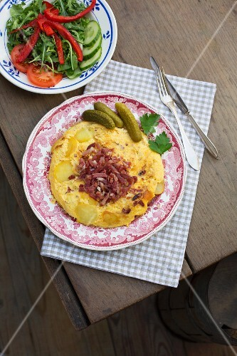 A country breakfast with salad
