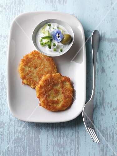 Vegetarian potato oatcakes with wild garlic tzatziki