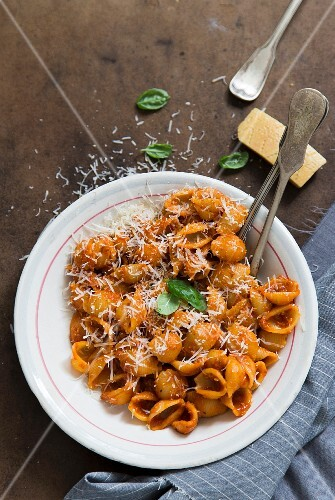 Shell pasta with tomato sauce and Parmesan cheese