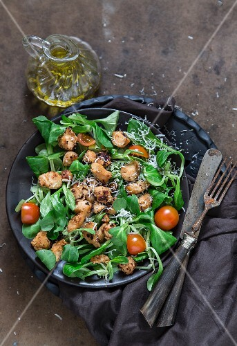 Lamb's leaf lettuce with chicken, cherry tomatoes and Parmesan cheese