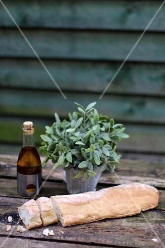 Sliced baguette, sage and balsamic vinegar on a wooden table