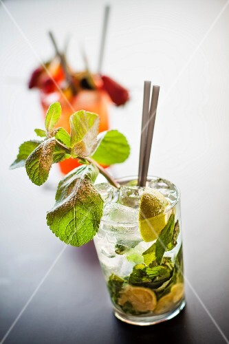 Mojito (cocktail made with white rum, limes and peppermint)