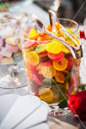 Colourful, rolled gummy sweets
