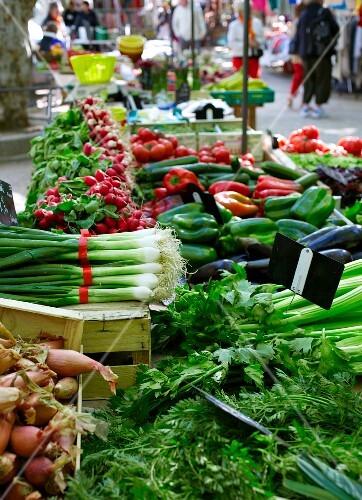 Fresh vegetables at a market in France