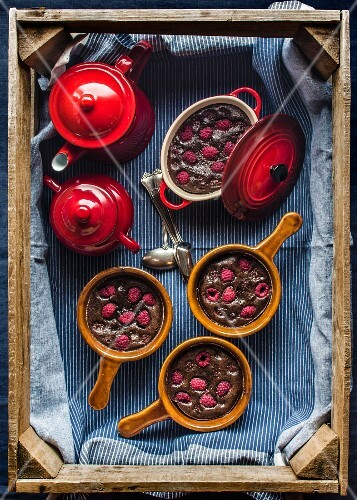 Chocolate clafoutis with raspberries
