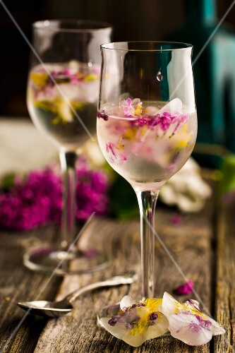 Ice cubes with lilac flowers and dandelion flowers in drinks in stemmed glasses