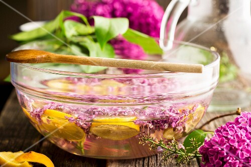 Lilac syrup being made: flowers being steeped in a sugar solution