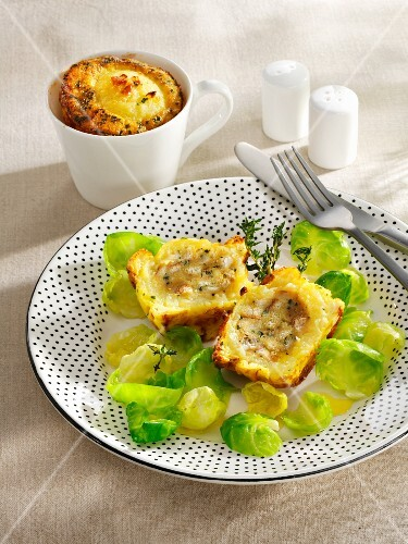Dumpling bake with Brussels sprouts leaves