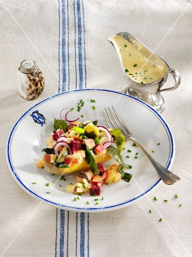 South German herring salad with beetroot and potatoes