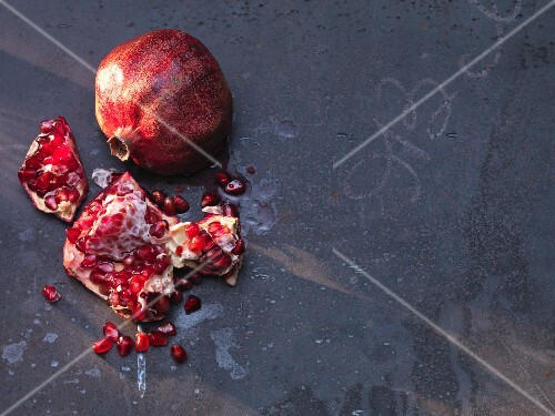 A pomegranate, broken open