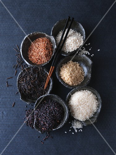 Still life with various types of rice