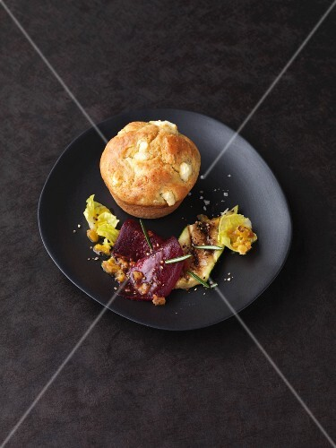 Marinated vegetables with a savoury sheep's cheese muffin