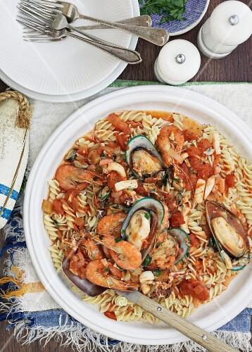 Fusilli marinara with seafood