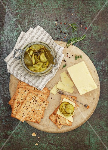 Crackers with butter and gherkins