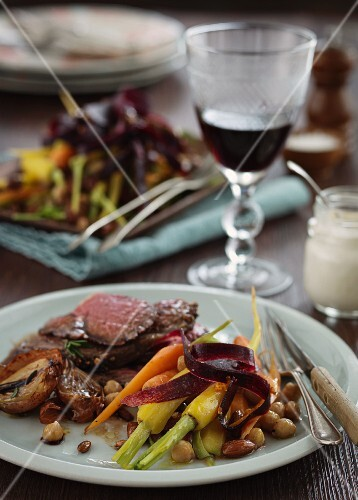 Beef steak with carrot salad