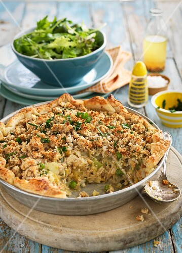 Chicken pie with a mixed leaf salad