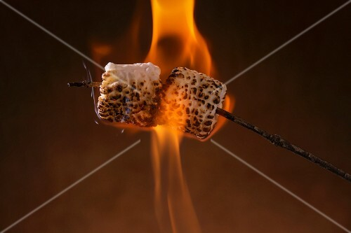 Marshmallows being toasted on a stick over a flame
