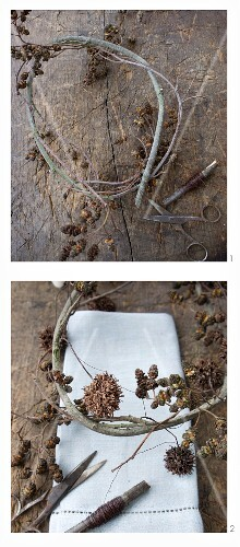 Making a wreath of alder seed heads