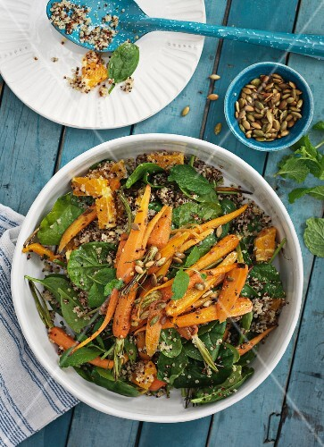 Moroccan carrot salad with spinach and mint
