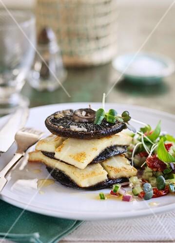 Fried giant mushrooms and haloumi