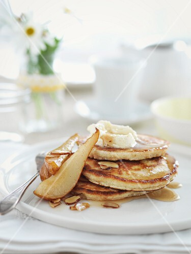 Pancakes with preserved pears
