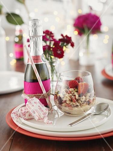 Fruit muesli and champagne