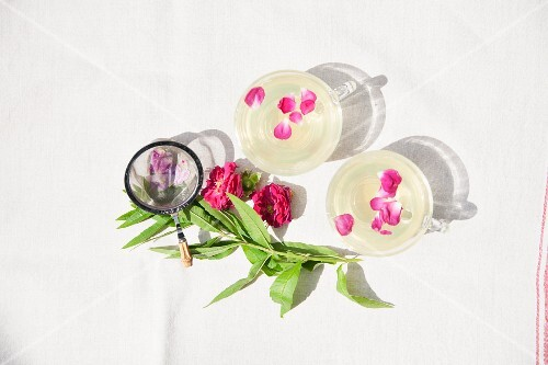Verbena tea with rose petals