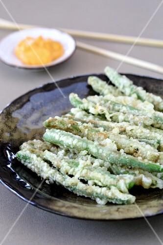 Green beans in tempura batter