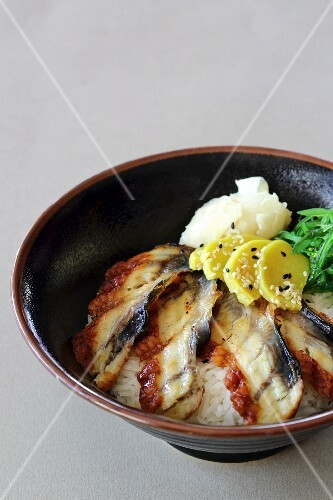 Unagi sashimi on a bed of rice (Japan)