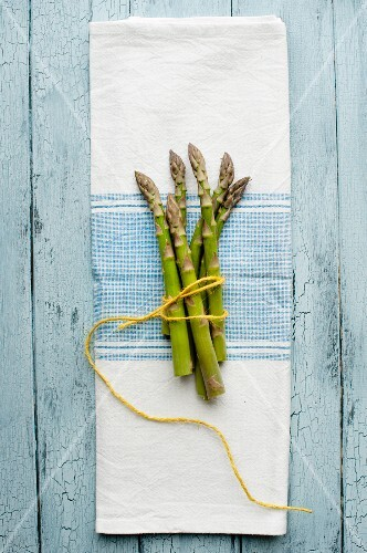 A bunch of asparagus on a blue-and-white tea towel (seen from above)