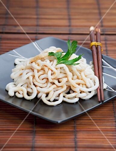Udon noodles with soy sauce