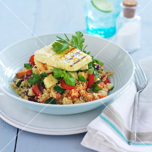 Couscous salad with vegetables and haloumi