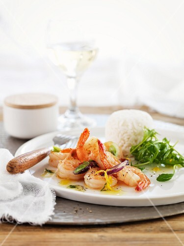 Prawns in honey sauce with rice