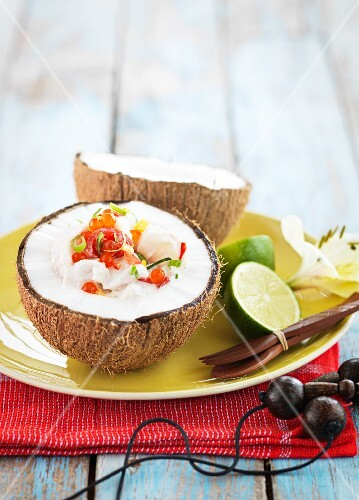 Stuffed coconut with fish and caviar