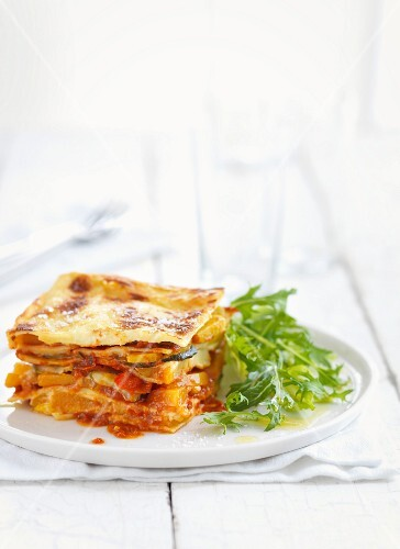 A portion of vegetable lasagne