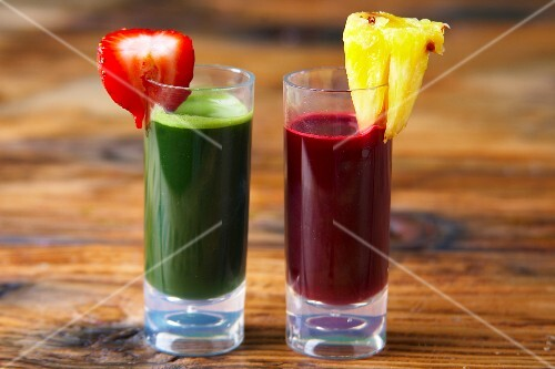 Wheat grass and beetroot juice