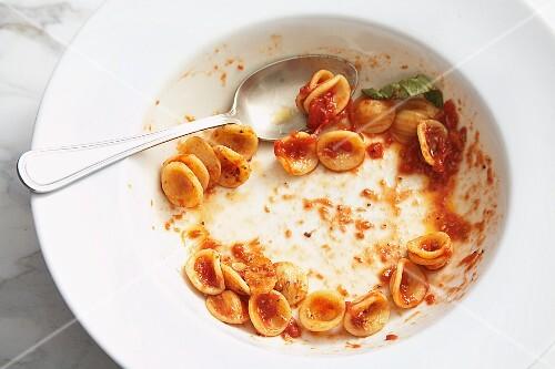 Reste von Orecchiette mit Tomatensauce