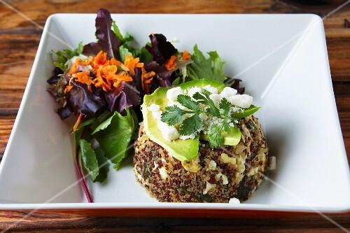 Quinoa with avocado, feta cheese and lettuce