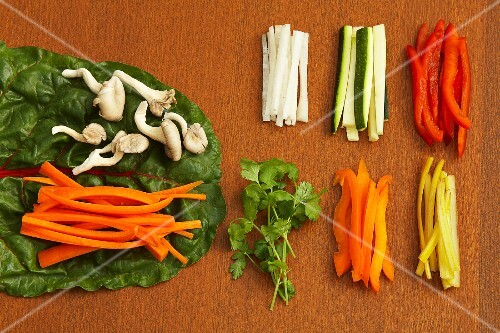 Raw vegetables for veggie wraps